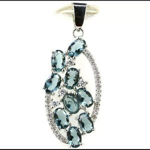London Blue Topaz And CZ Pendant 925 New
